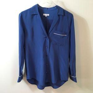 Equipment Keira Silk Blue Button Down PJ Blouse XS
